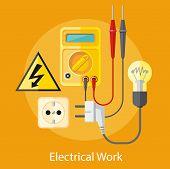 stock photo of electric socket  - Electrical work - JPG