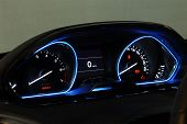 picture of mph  - illuminated instrument panel with the passenger car - JPG