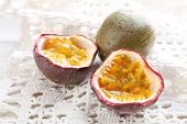 image of passion fruit  - Passion fruits on color wooden background - JPG