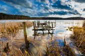 picture of pier a lake  - Small pier on lake beautiful long exposure photo - JPG