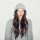 pic of hoodie  - Woman with black eyes and white eyebrows - JPG