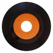 stock photo of analogy  - Vinyl record vintage analog music recording medium 45rpm single with orange label isolated over white - JPG