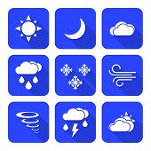 stock photo of windy weather  - vector solid white color flat design weather forecast icons set long shadows - JPG