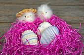 image of baby chick  - Easter egg cookies in pink nest with baby chicks. ** Note: Visible grain at 100%, best at smaller sizes - JPG