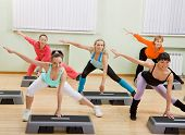 stock photo of step aerobics  - Health Club - JPG