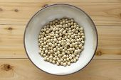 image of soy bean  - Soy beans in a bowl - wooden table background ** Note: Soft Focus at 100%, best at smaller sizes - JPG