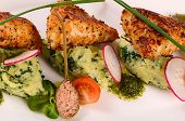 foto of mashed potatoes  - The fish in breadcrumbs with mashed potatoes - JPG