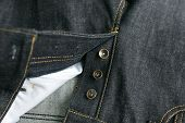 stock photo of denim jeans  - Selvedge denim Jeans close - JPG