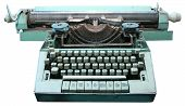picture of qwerty  - Green Isolated obsolete vintage typewriter over white - JPG
