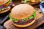 foto of beef-burger  - Beef burger with pickles - JPG