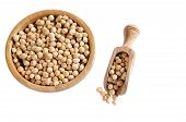 foto of chickpea  - Tasty chickpeas ready for cooking isolated on white background - JPG