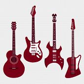 Постер, плакат: Set of different guitars Acostic guitar electric guitar heavy