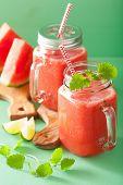 foto of mason  - watermelon lime smoothie in mason jars - JPG