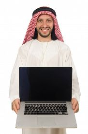 stock photo of arab man  - Arab man with laptop isolated on white - JPG