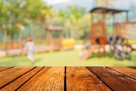 foto of playground school  - Defocused and blur image of children - JPG