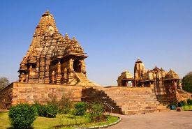 stock photo of kandariya mahadeva temple  - Kandariya Mahadeva Temple in Khajuraho - JPG