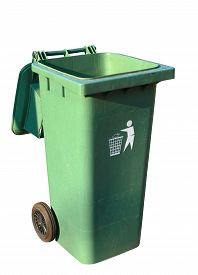 image of recycle bin  - Green plastic recycle bin isolated on white background clipping path - JPG