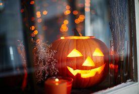 stock photo of antichrist  - Symbol of halloween in window - JPG