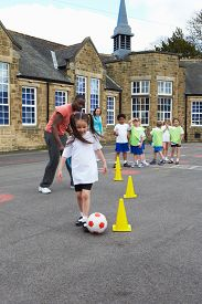 picture of physical education  - Group Of Children In School Physical Education Class - JPG