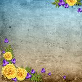 Textured Grunge Background With Yellow Rose And Space For Text poster