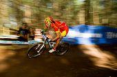 Motion Blur Spain Participant Riding Berm At Uci Mtb World Cup