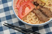 Closeup Of Healthy Meat Noodles
