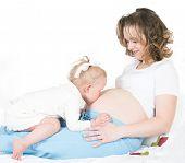 Kind und Schwangere Mutter