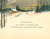 Vintage Holiday Greeting for Christmas and New Years