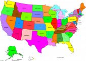 picture of guam  - Detailed map of United States broken down by states - JPG
