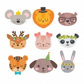 Cute Animals With Funny Accessories. Cartoon Zoo. Set Of Hand Drawn Smiling Characters. Cat, Lion, P poster