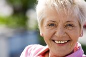 picture of positive thought  - Closeup portrait of elderly woman with white hair - JPG