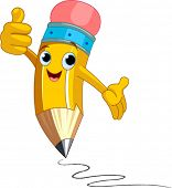 Illustration of a Pencil Character  giving thumbs up