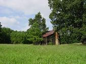 stock photo of farm-house  - this is an old barn or farm house with chimney in between trees in a field - JPG