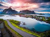 Lofoten islands is an archipelago aerial photography., Norway. Is known for a distinctive scenery wi poster