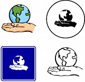 world in hand illustration sign and symbol