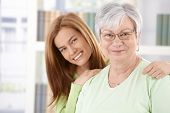 picture of elderly woman  - Portrait of elderly mother and daughter smiling happily - JPG