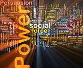 Background concept word cloud illustration of power glowing light