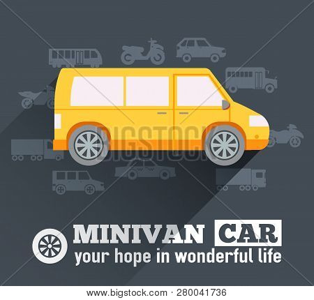 Flat Minivan Car Background Illustration