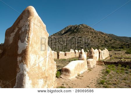 poster of Fort Bowie National Historic Site adobe ruins and desert mountains