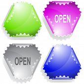 Open. Raster sticker. Vector version is in my portfolio.