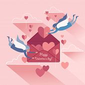 Cute Couple Soaring White-winged Angels With Valentines, Pink Sky Background. poster