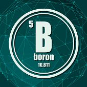 Boron Chemical Element. Sign With Atomic Number And Atomic Weight. Chemical Element Of Periodic Tabl poster