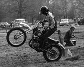 CRAWLEY, ENGLAND - APRIL 18: A competitor takes place in a motor cycle scramble race on April 18, 19