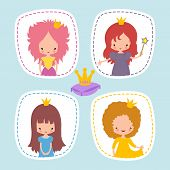 Cute Little Princess Stikers Or Avatars Vector Set. Illustration Of Princess Girl Character With Cro poster