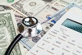 Financial Health Check, Tax Or Medical And Health Care Expense Concept, Stethoscope Put On Fed Feder poster