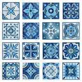 Patchwork Tile In Blue, Gray And Green Colors. Vintage Ceramic Tiles Vector Illustration. Floor Desi poster