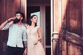 Smoking Addiction. Couple In Love Have Smoking Break. Romantic Couple Of Sensual Woman And Bearded M poster