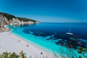 Breathtaking View Of Famous Fteri Beach, Kefalonia, Greece Ionian Islands. Summer Adventure Vacation poster