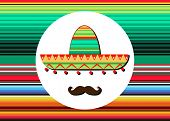Sombrero And Mustache Icon Template. Portrait Of  Mexican Man In Sombrero And Blanket Stripes, Sketc poster