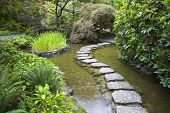 A footpath from stones laid with brick through a fine pond in Japanese garden